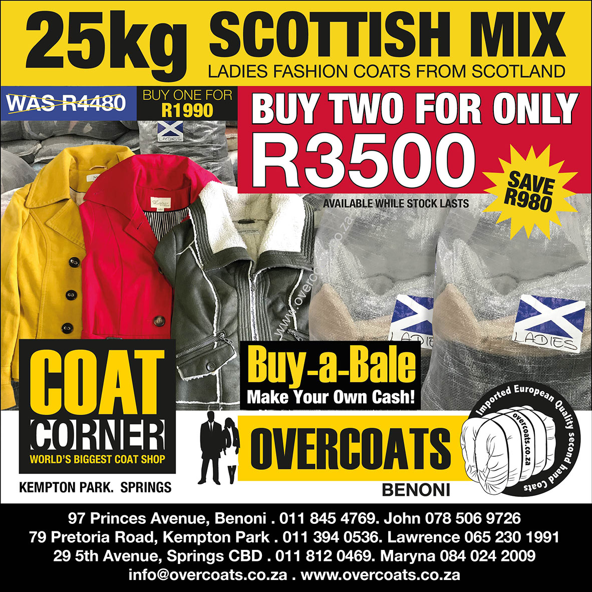 Second hand Overcoats for sale in bales(UK Mix). Business Opportunity!
