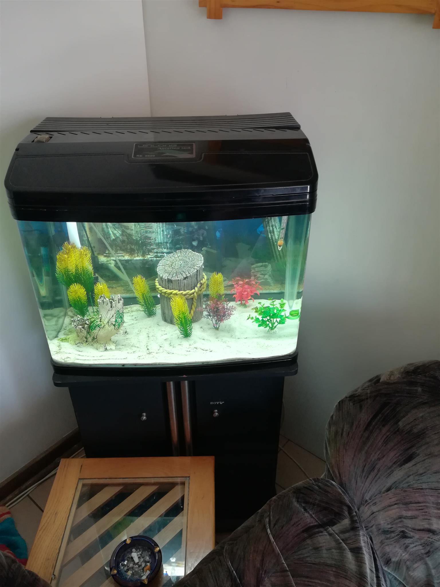 Boyu RE5620 120L fish tank with build in filtration system and 2 tube Lights , everything shown in picture