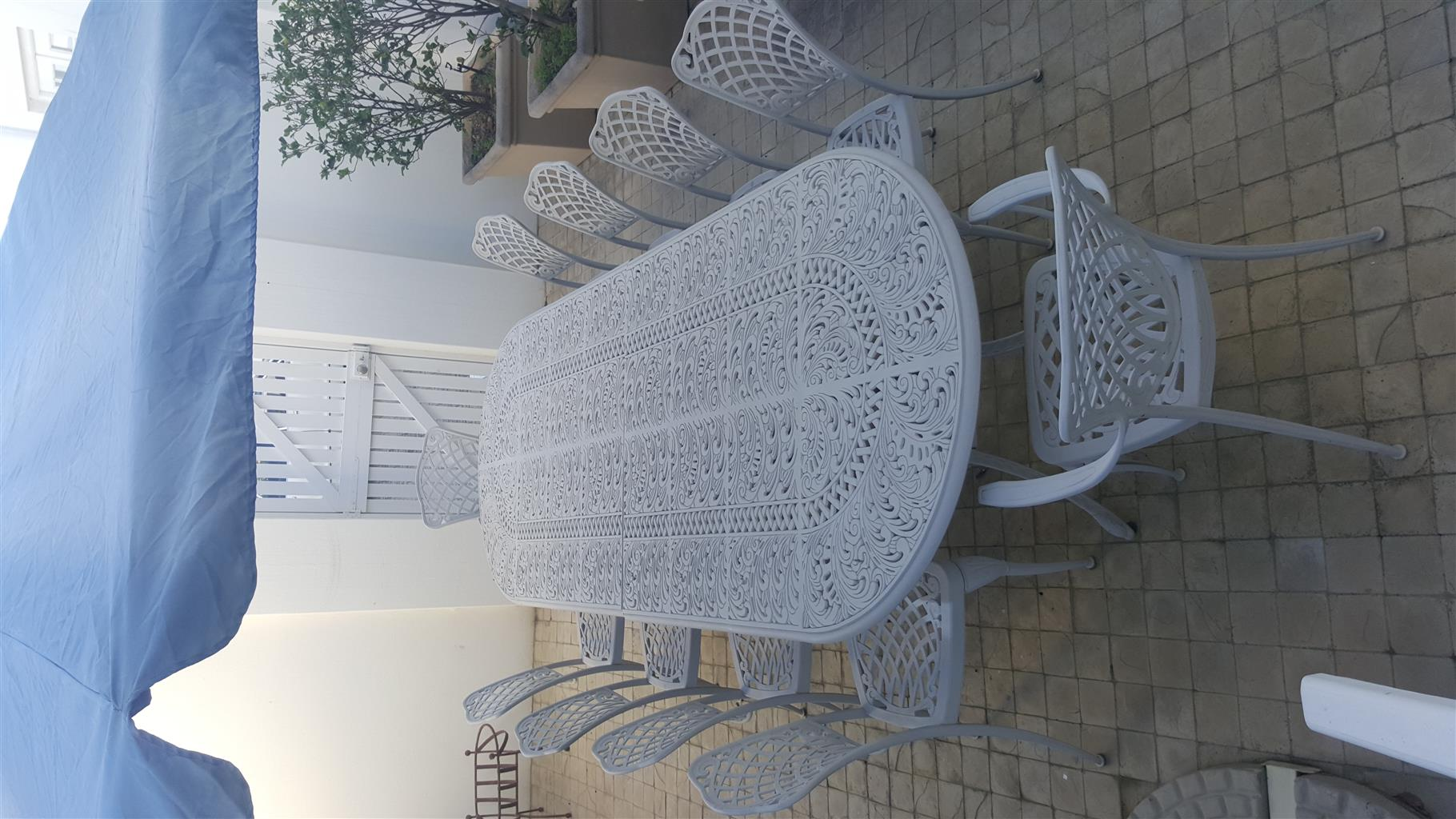 Table with ten chairs patio set