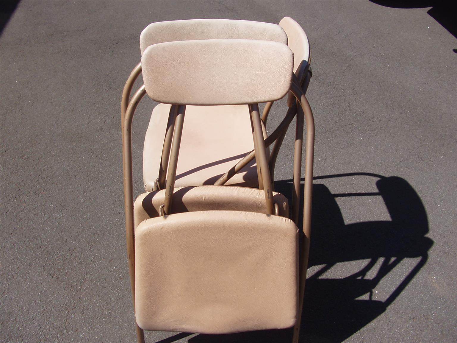 Garden / Picnic Fold-up Padded Chairs - 3 chairs on metal frames
