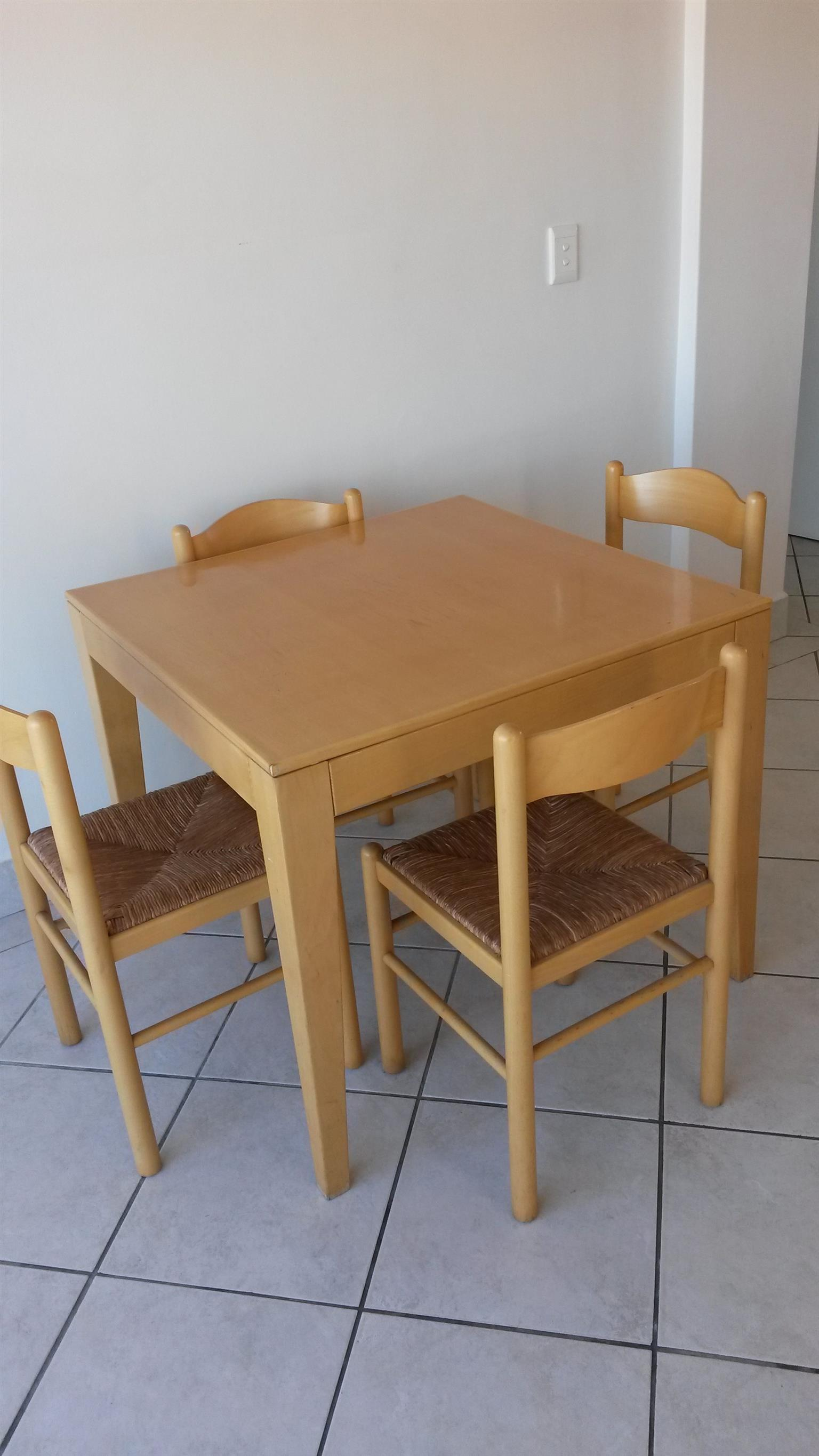 Beech wood dining table and chairs