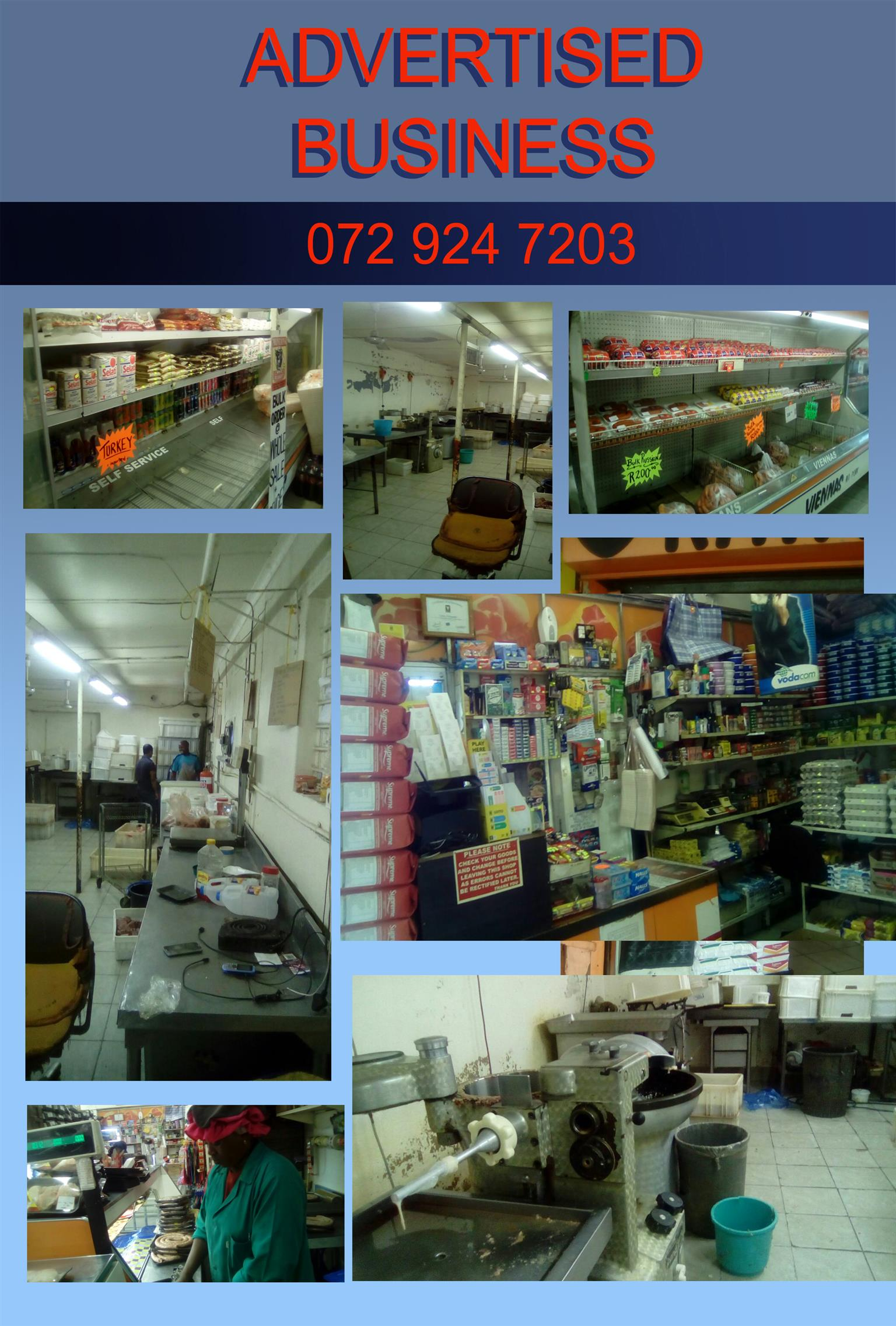 Butchery and Supermarket in Pta town for sale.