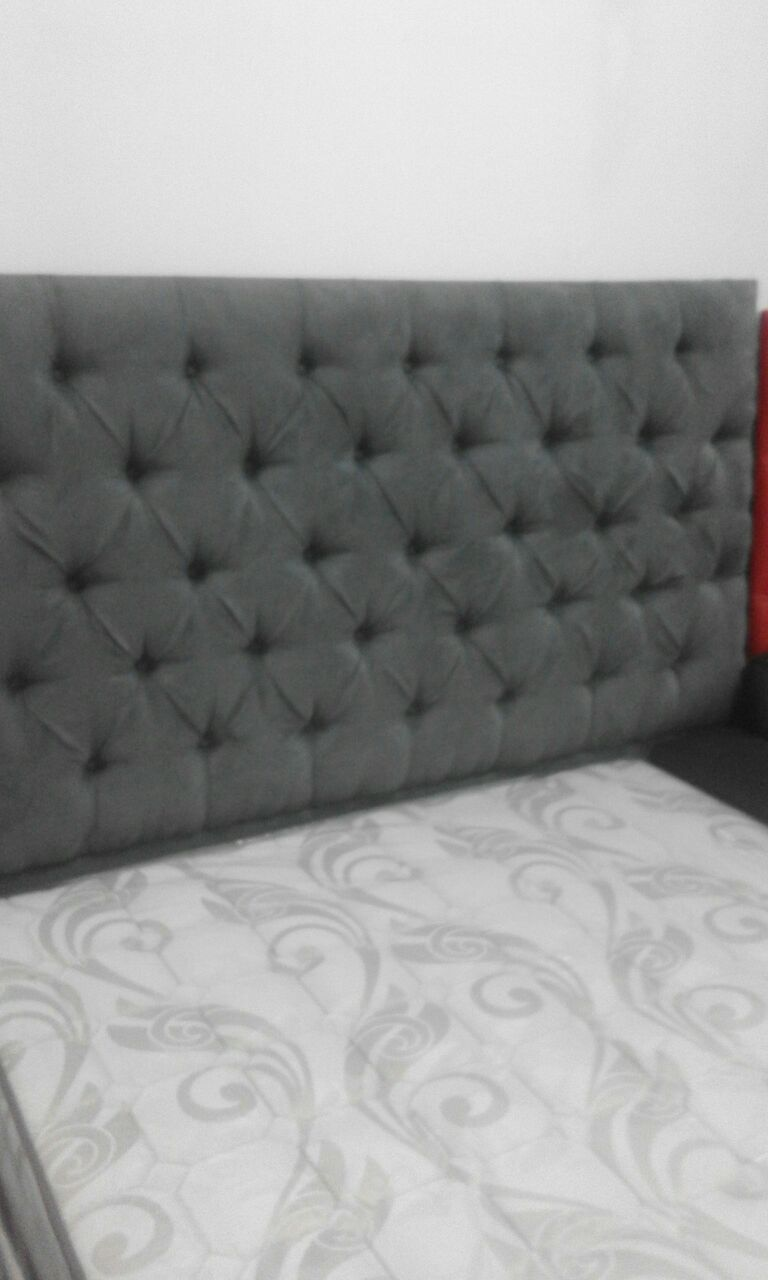 New suede button headboard with side tables