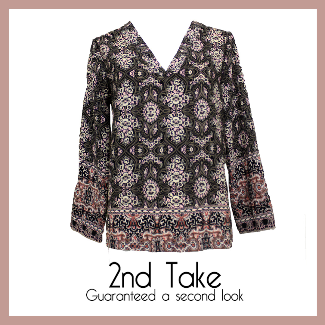 Get this versatile Holley & Joe pink and grey patterned blouse at 2nd Take