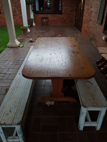 Table with benches for sale