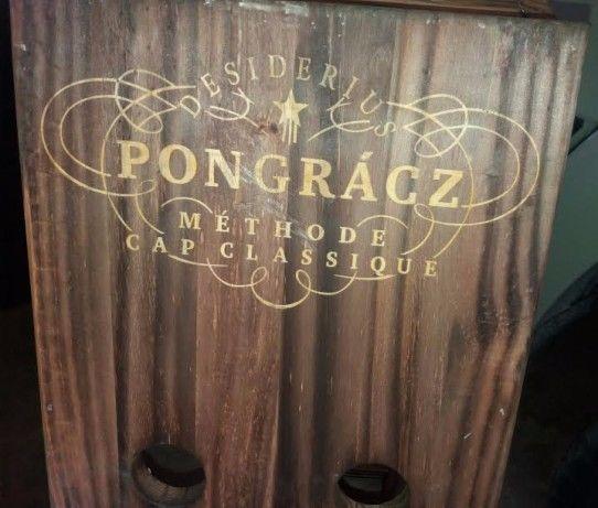 wooden champagne bottle display case