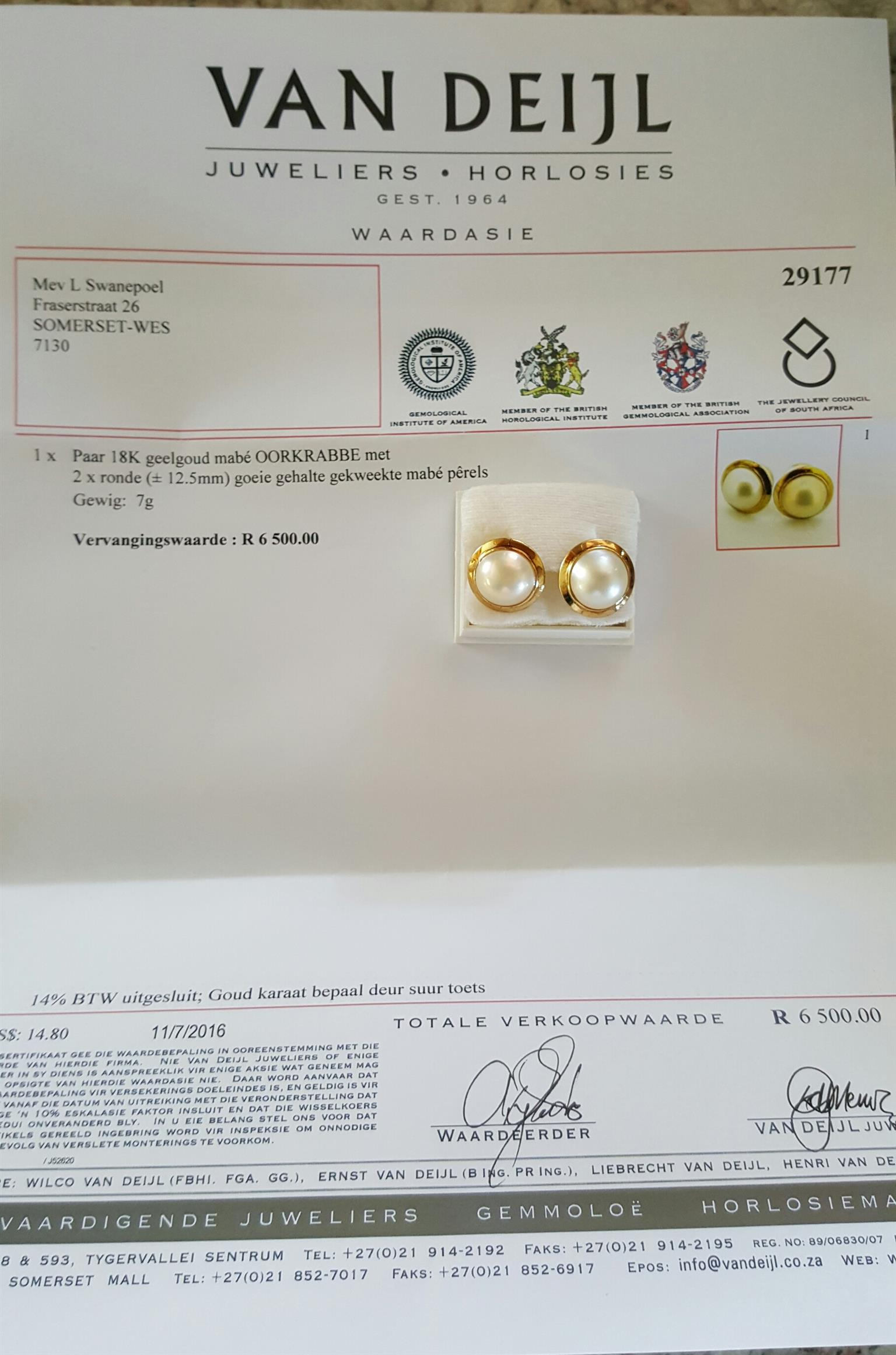 Marbe pearl earrings set in gold with valuation certificate