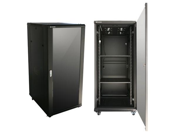 47 U Network cabinet / server rack for sale. New Black with glass door, fans and shelves