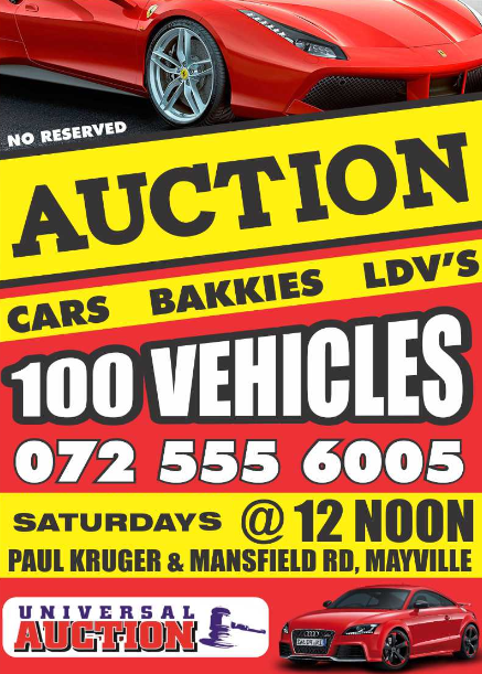 Cars, Bakkies, LDVs on auction on Saturdays weekly