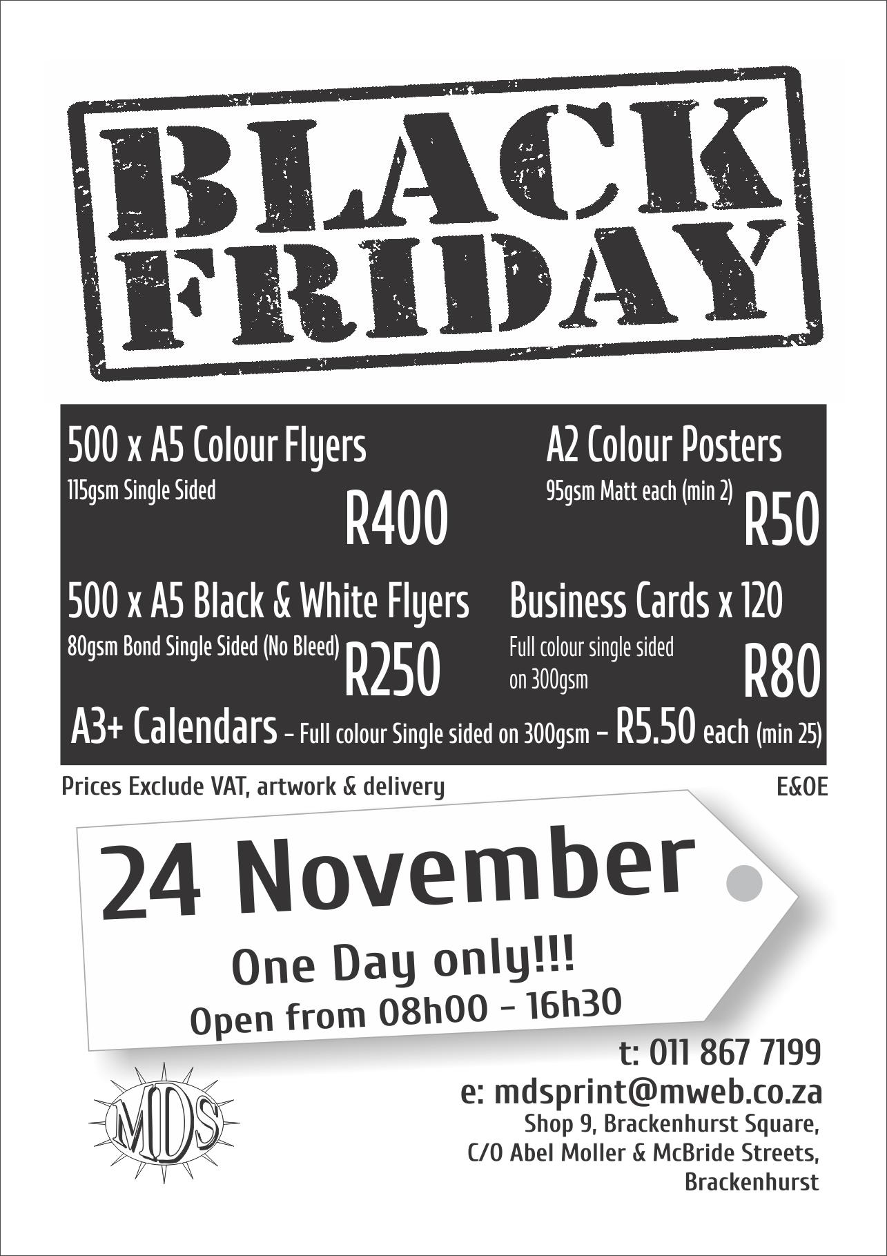 Black Friday Print Specials