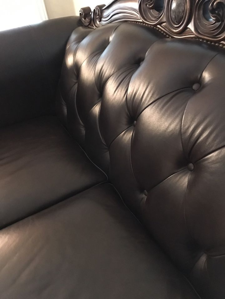 Moving Sale-Ashley Leather Loveseat And Chair