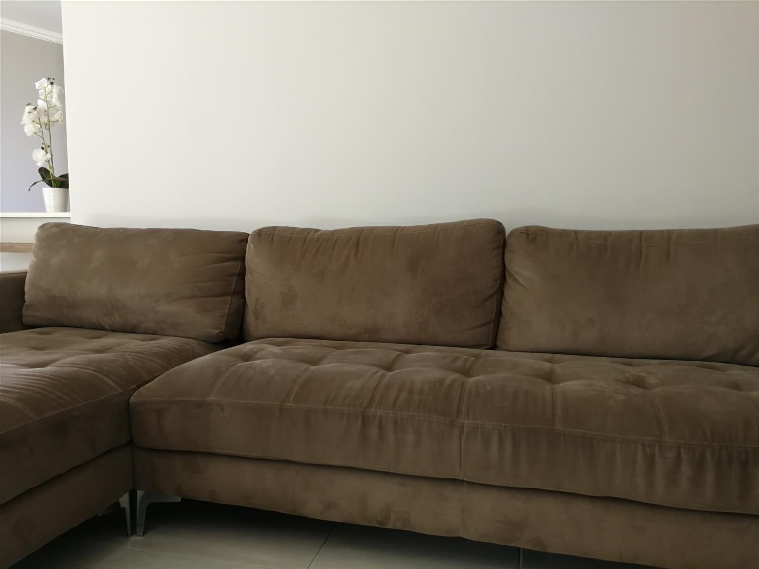 @Home Oxford Brown L shaped Corner Couch for R8500