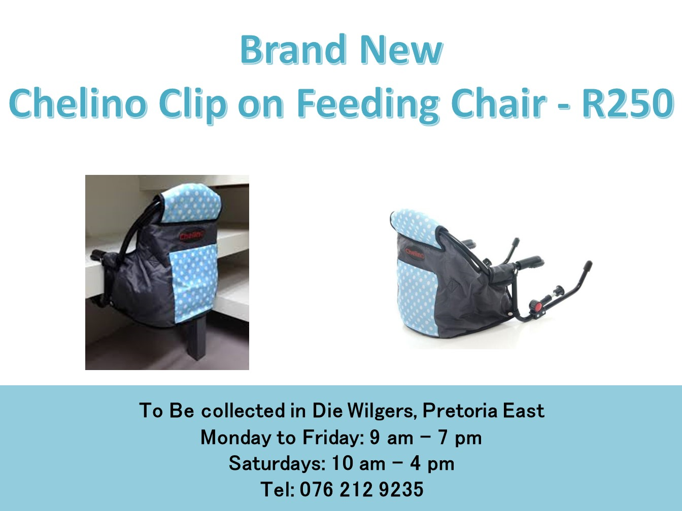Brand New  Chelino Clip on Feeding Chair (Blue and black)