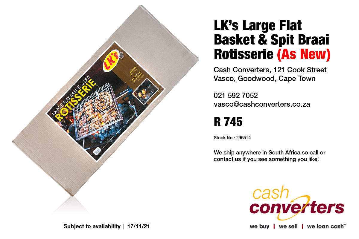 LK's Large Flat Basket & Spit Braai Rotisserie (As New)