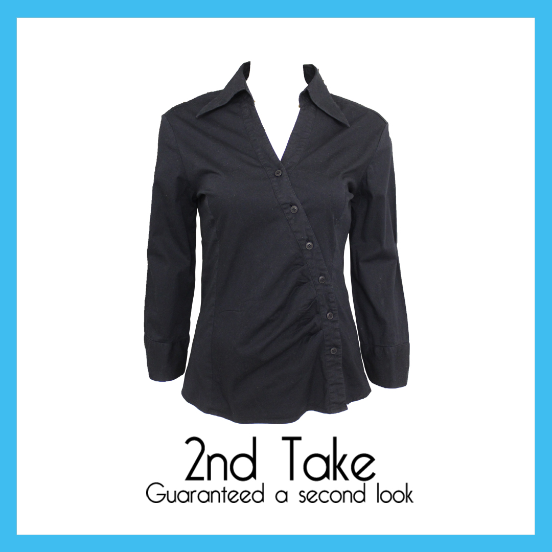 Get this black deconstructed blouse from Guess for less! Available now at 2nd Take!