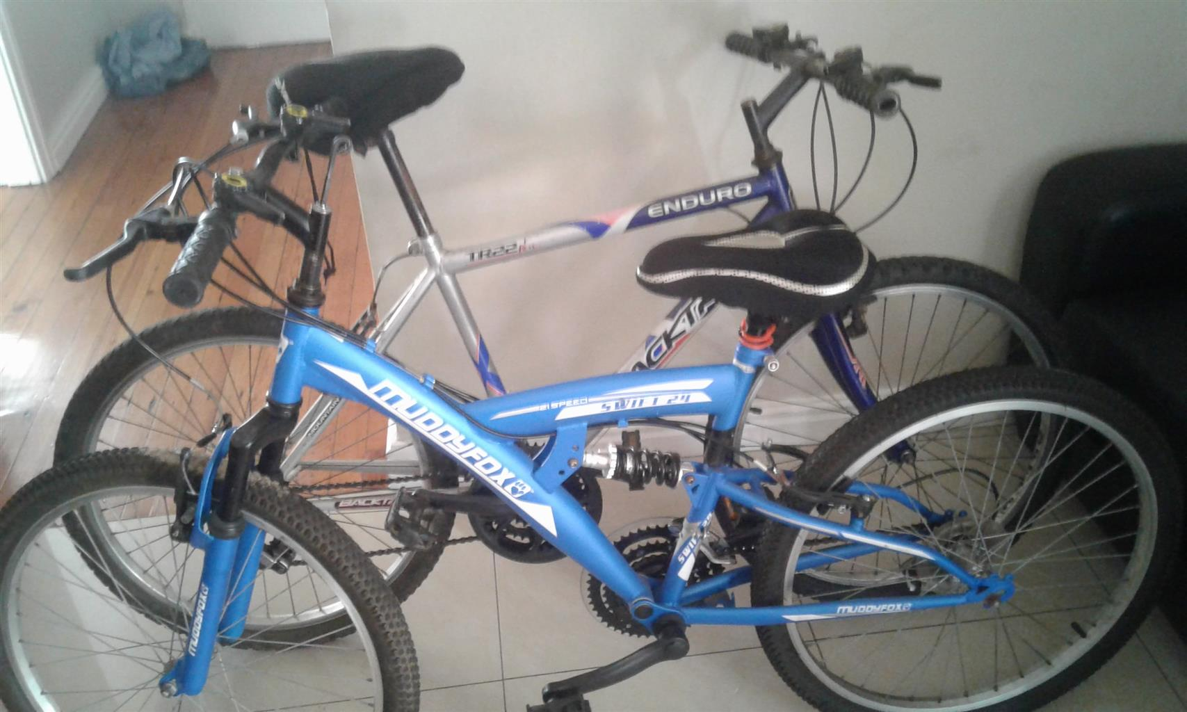 2 mountain bikes 24 inch one almost new other needs tlc