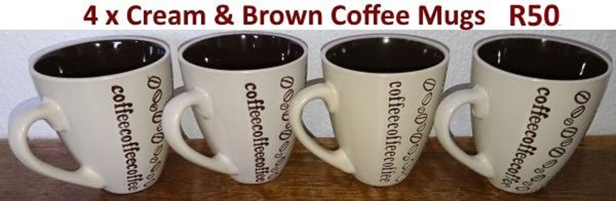 4 Cream and brown coffee mugs