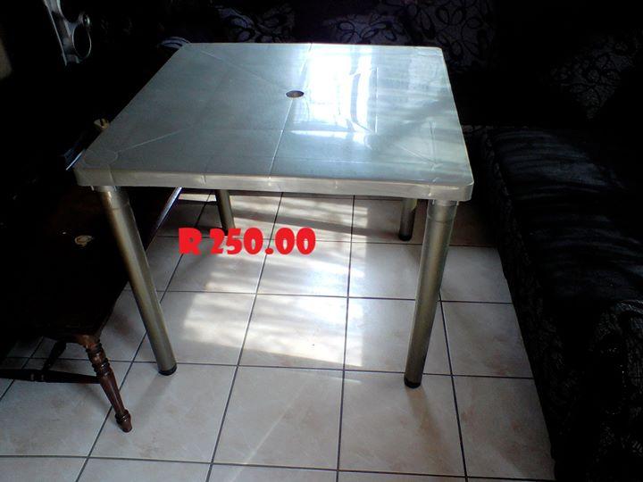 Gray plastic table