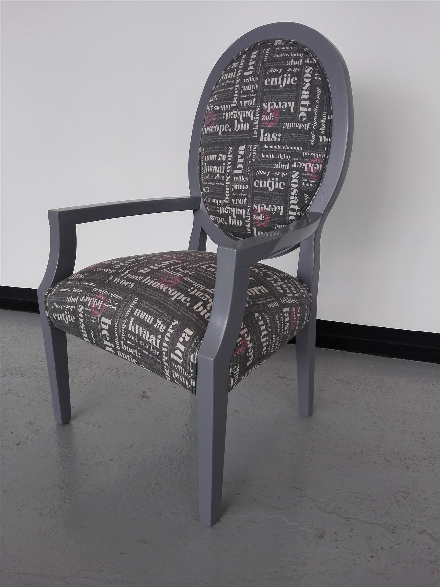 Solid timber gray sprayed chair.