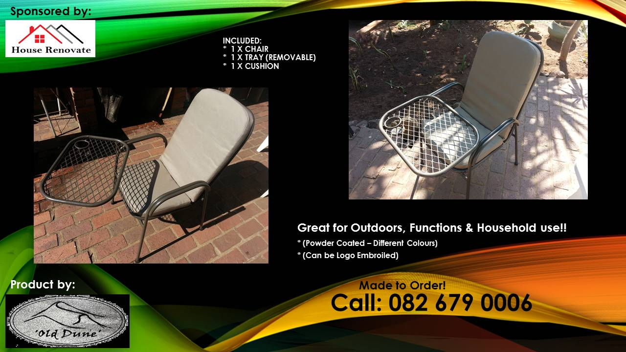 Outdoor chairs with swinging Tray, Removable. Powder coated. All Colours - R1150