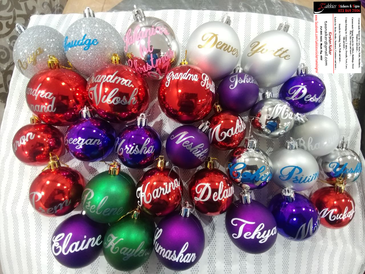 Personalized Christmas Ball NAME Stickers