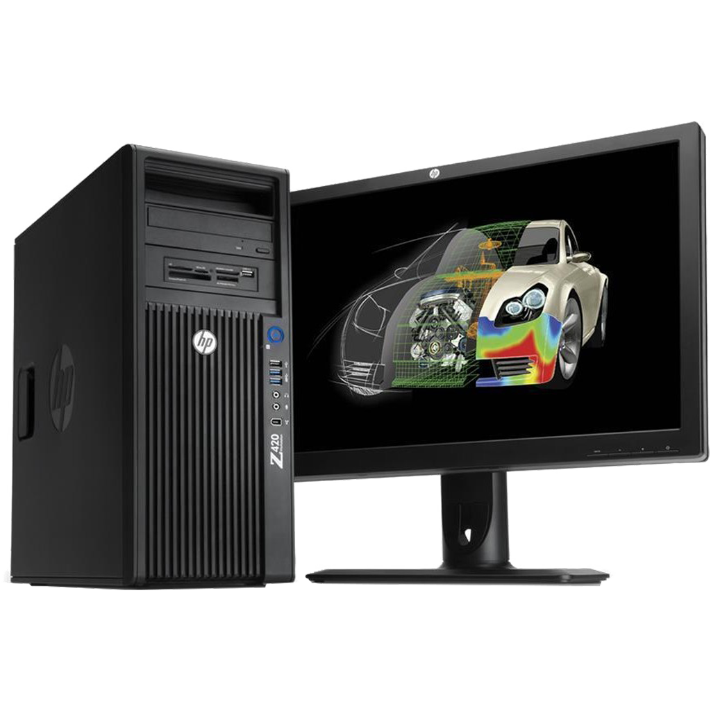 "HP Z420 Xeon Hexa Core 32GB RAM Workstation + 19"" Monitor"