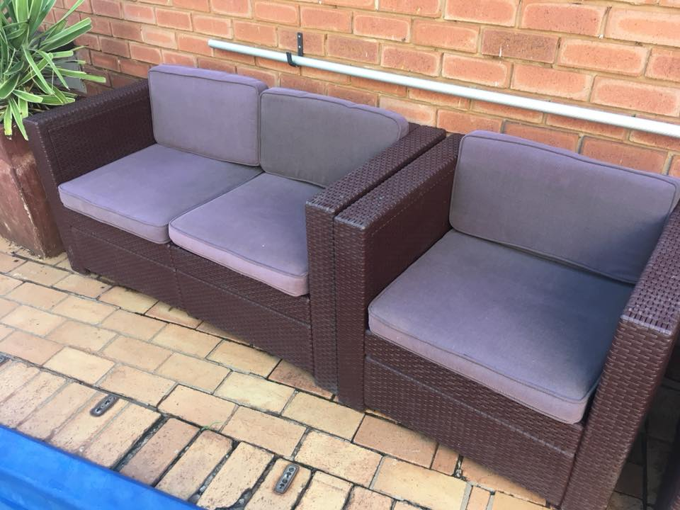 Outdoor x1 two seater, x2 one seater and coffee table