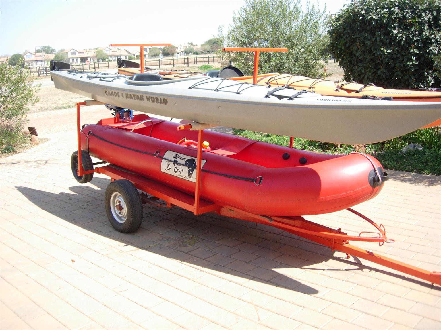 Kayak, Rubber Duck, Motor, Trailer