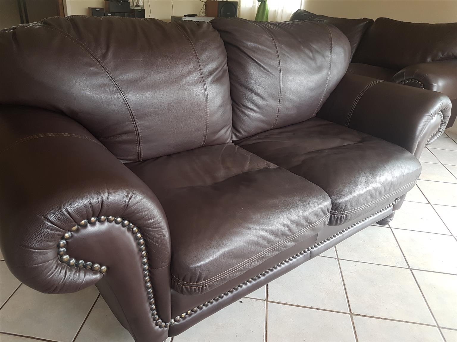 Alpine full genuine leather couch