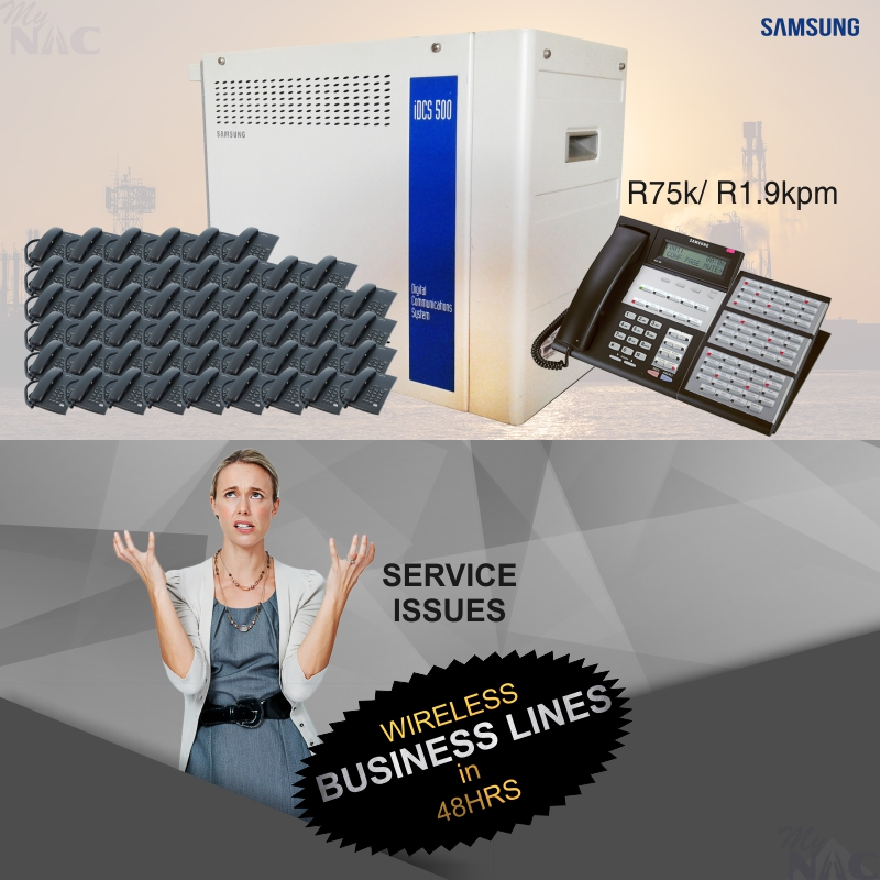 We supply and Install Samsung PABX Systems and Wireless business lines.