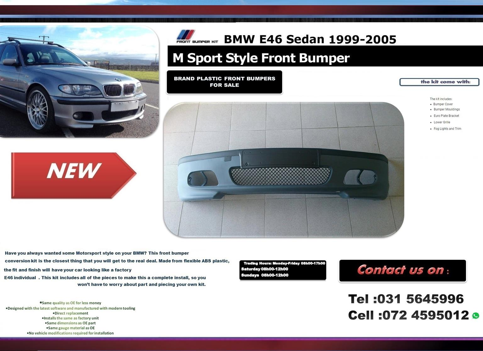 BMW E46 3 Series individual Brand New Front Plastic bumpers For sale Price R2300