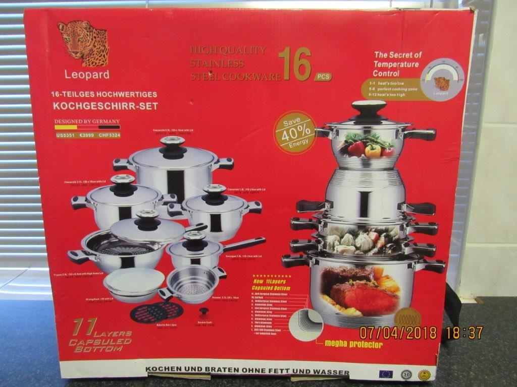 Leopard 16 Pcs Cookware - Brand New
