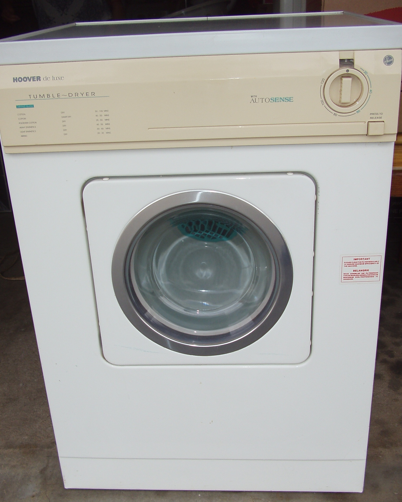 Tumble Dryer - Hoover de Luxe - in excellent working order with manuals