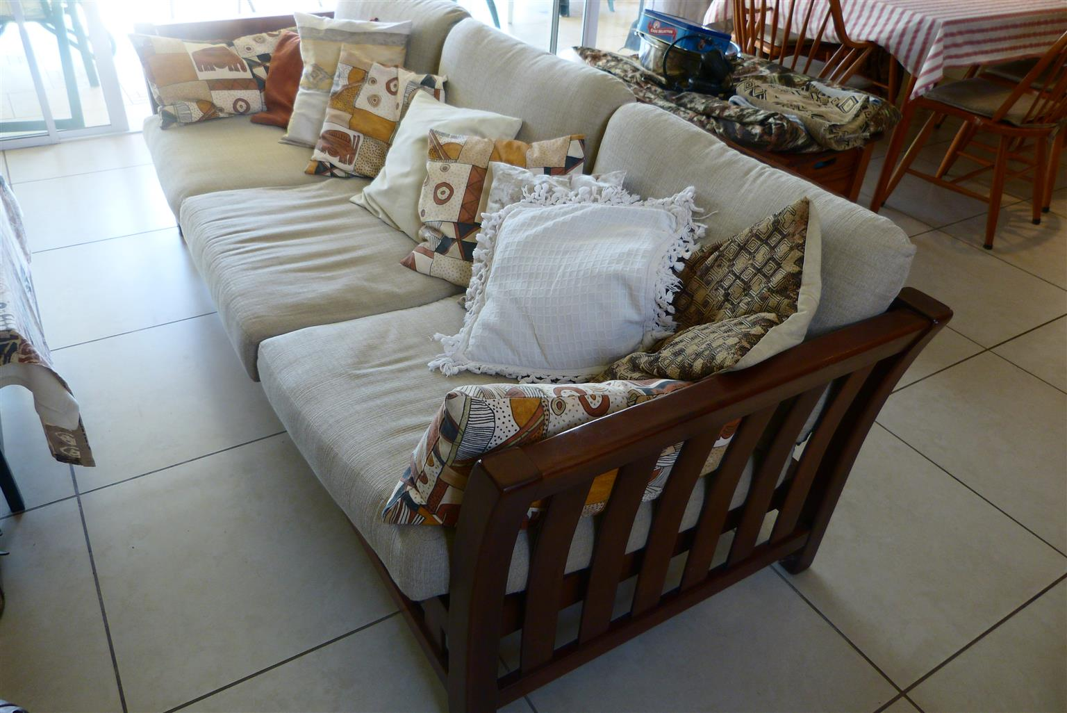 Wicker Couch with 2 coffee tables 5900.00, 1 shelf with extension 900.00