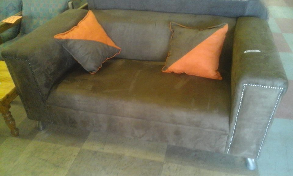 Dark brown suede 2 seater couch