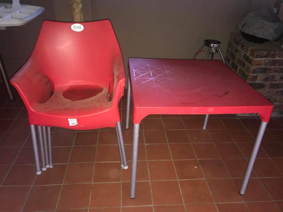 Red garden table and chair