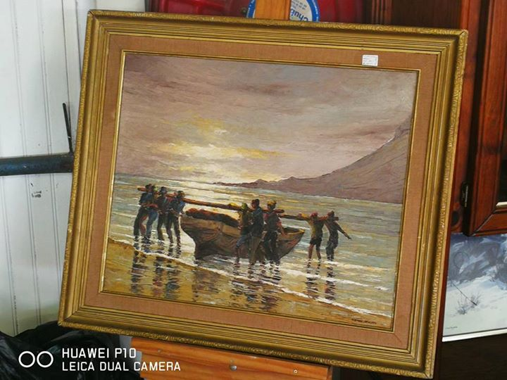 Sea boat painting in frame