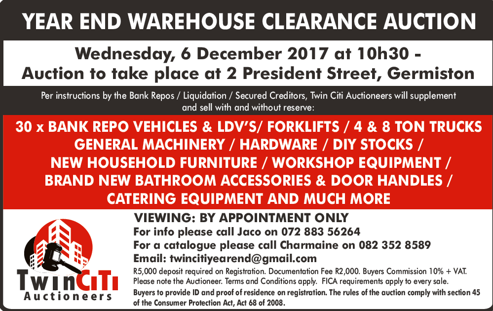 YEAR END WAREHOUSE CLEARANCE AUCTION