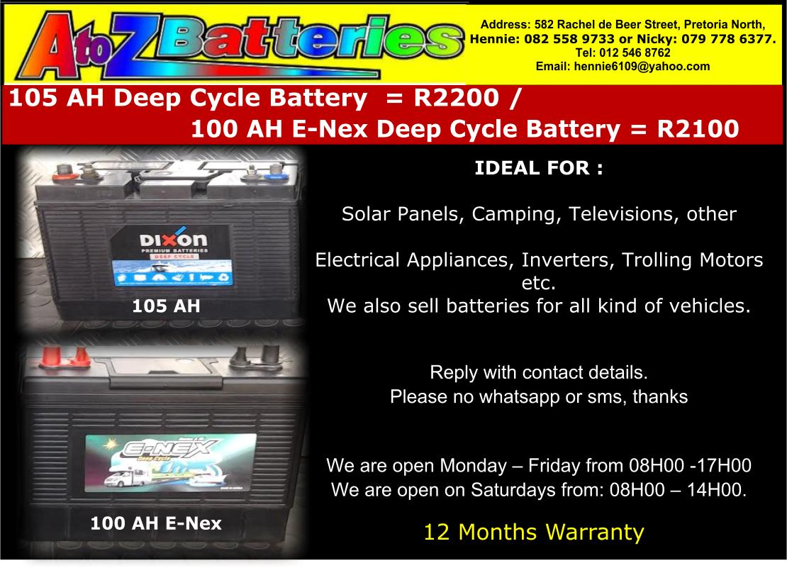 For Sale 100 AH E-Nex Deep Cycle Battery