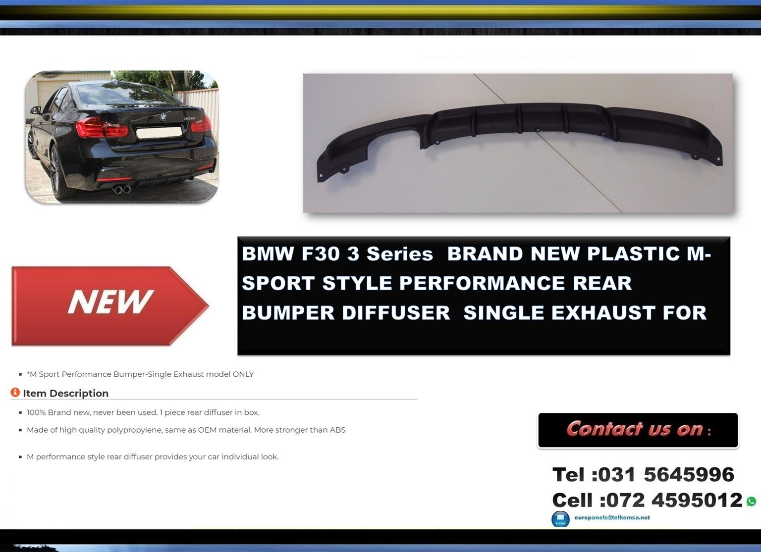 BMW F30 BRAND NEW PLASTIC M-SPORT STYLE PERFORMANCE REAR BUMPER DIFFUSER FOR SALE PRICE :R1395