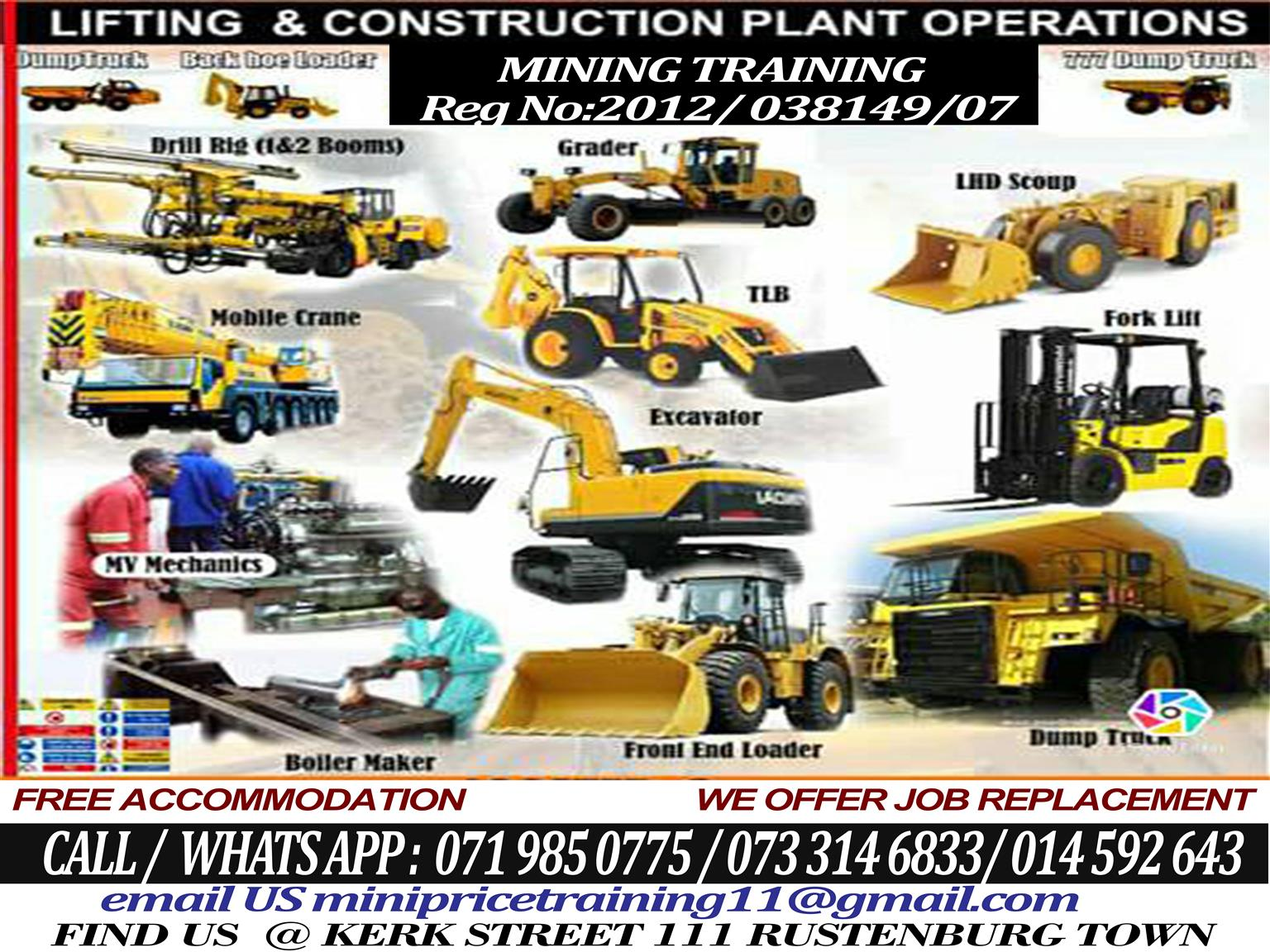 RDO (LHD scoop) dumper Excavator 777 dump truck Drill rig training.Accredited operator school Safety courses