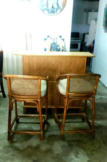 Cane Bar And 2 Chairs