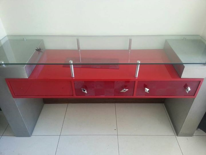 Modern red and gray side table
