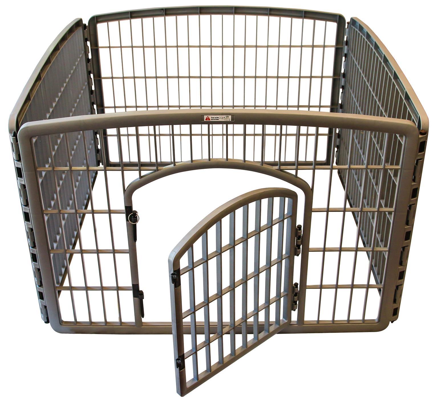 Grey pet playpen with gate [Plastic]