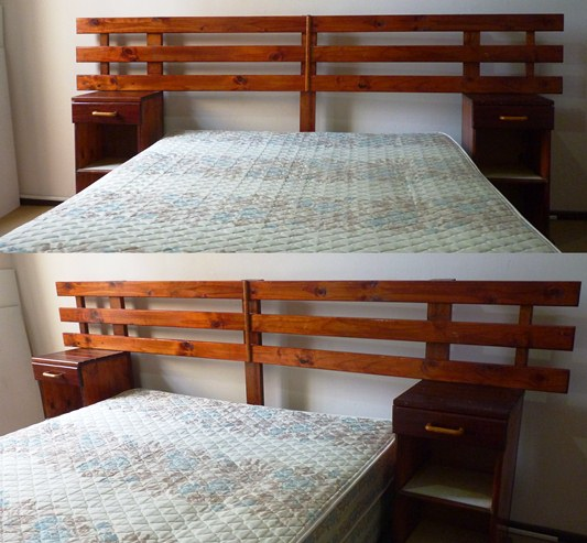 Double bed with headboard and bedside tables in very good condition