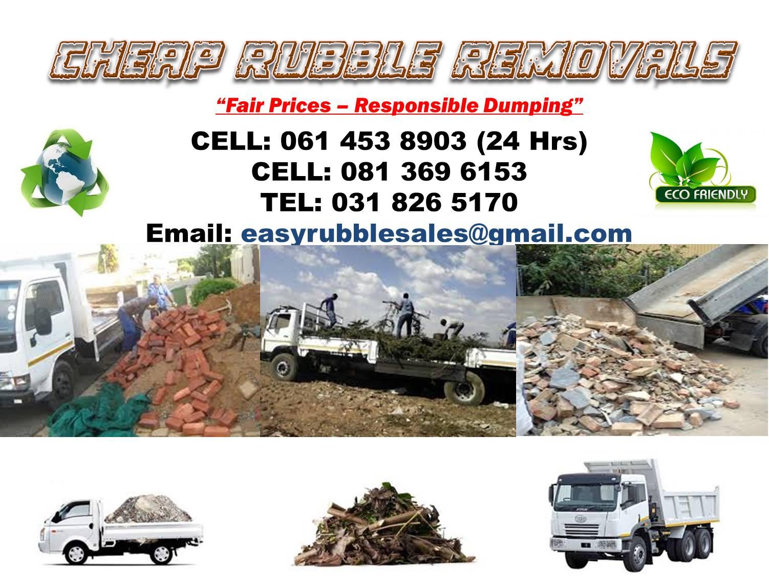 CHEAP RUBBLE REMOVALS - DURBAN AREA