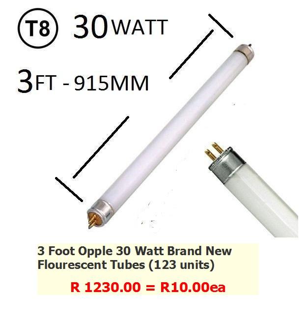 Flourescent Tubes : 3 Foot  30 Watt Flourescent Tubes Unused Brand New (Opple Brand 123 Units)