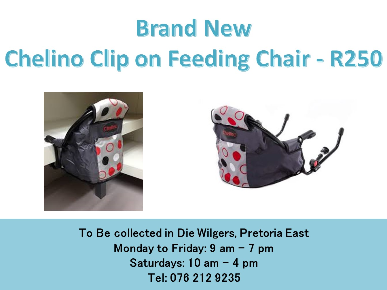 Brand New  Chelino Clip on Feeding Chair (Grey and black)