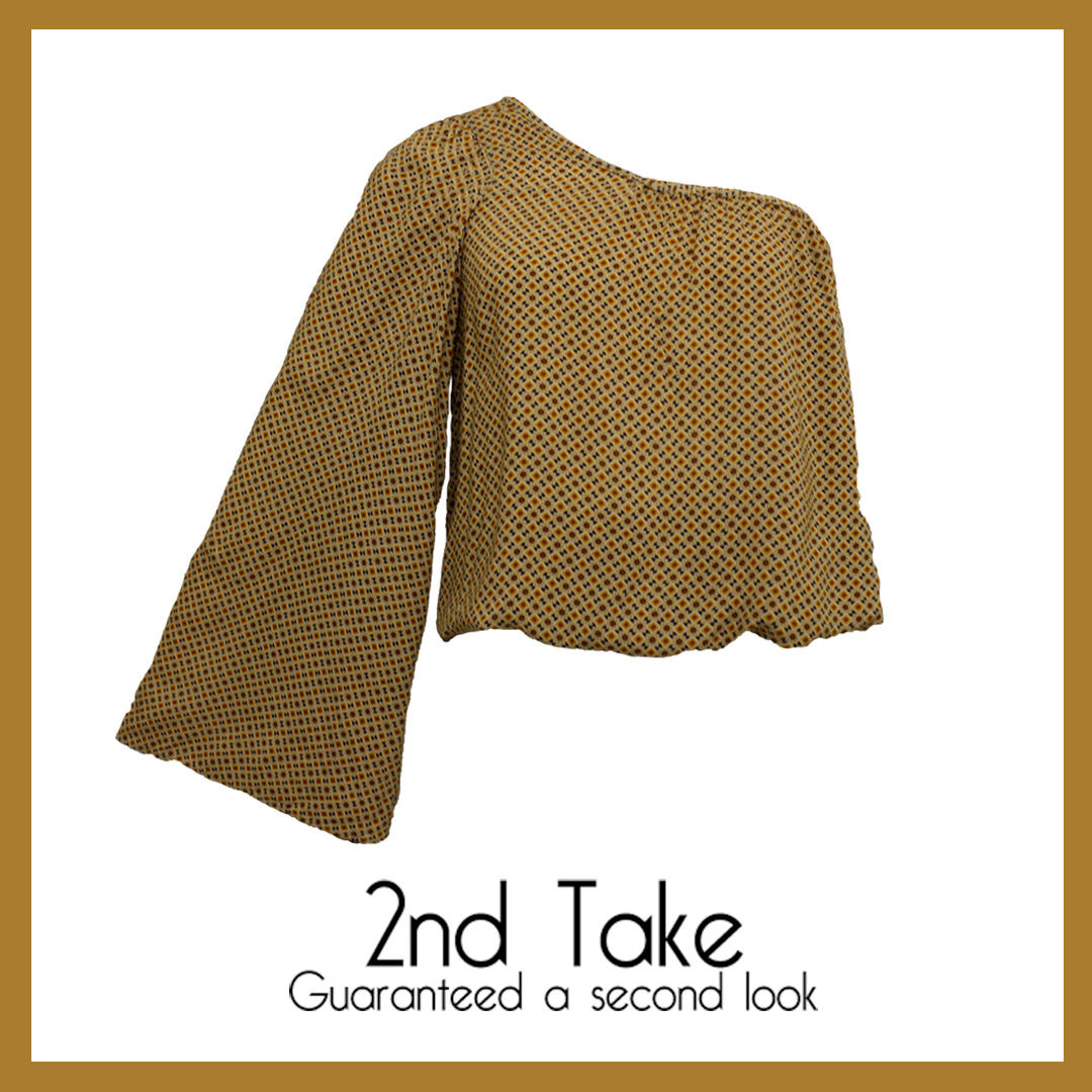 Get this stylish on trend Zara brown and yellow asymmetrical top at 2nd Take.