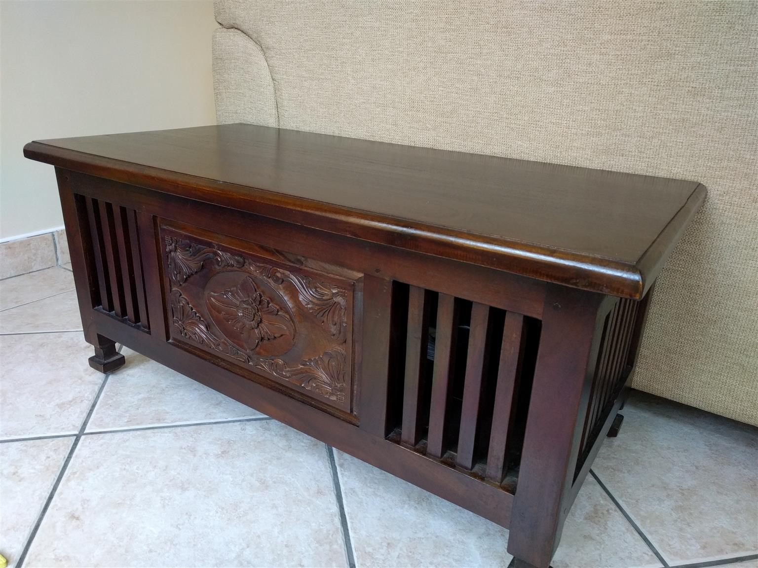 Indonesian Style Solid Dark Wood Coffee Table